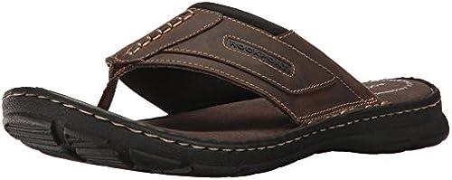 Rockport Men& 039;s Darwyn Thong Flip Flop, braun II Leather, 10 W US