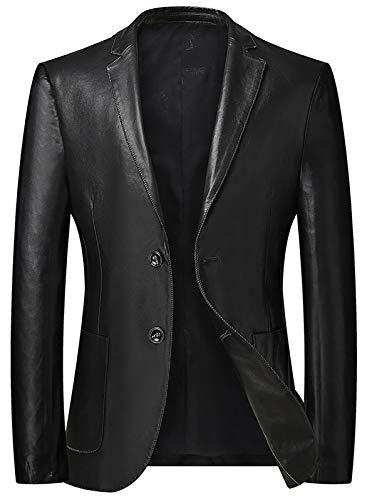 HYISHION Herren Leder-Sakko Slim Fit Anzugjacken Blazer Eleganter Freizeitanzug einreihig EIN Knopf Lederanzug Jacke Casual Fashion einfarbig Mantel,Schwarz,3XL