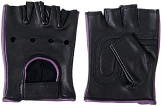 Hot Leathers Women's Fingerless Gloves (Black/Purple, Medium)