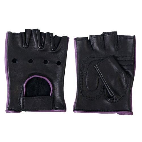Hot Leathers Women's Fingerless Gloves (Black/Purple, X-Large)