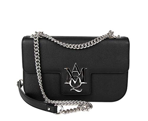 Alexander McQueen Women's Black Leather Flap Chain Crossbody Bag 439445 1000