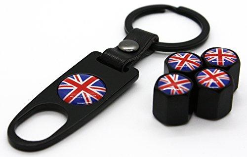 Mini Cooper Union Jack Reifen Ventil Stem Kappen Schlüsselanhänger Combo Set Zubehör Aufkleber Teile