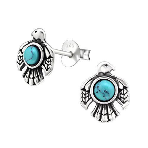 Tata Gisèle  Rhodium-Plated 925/000 Sterling Silver Eagle Earrings with a Semi-Precious Turquoise Blue Stone Centre - 9 mm