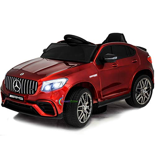 Americas Toys Kids Ride On Car - 12V Battery Motorized Electric Car with Remote Control - Licensed Ride On Toy for Kid with Power Display, Lights, Open Doors, Leather Seat, MP3 Music and Horn Red