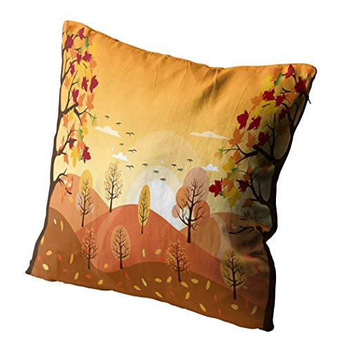 Docady 16 x 16 Inch Square Pillowcase Countryside Landscape Autumn Fallen Leaves Grass Horizontal Mountain Maple Tree Decorative Cushion Cover Printing Pillowcase Home Sofa Living Room Bedroom