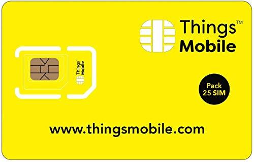 Pack de 25 tarjetas SIM Things Mobile de Prepago para IOT y M2M con Cobertura Global sin costos fijos. Ideal para domótica, rastreadores GPS, telemetría, alarmas, smart city, automotive.