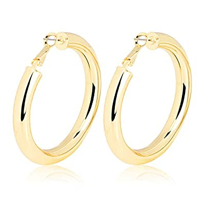 Fashion Gold Silver Hoop Earrings Hypoallergenic High Polished Dangle Drop Minimalist Hoops Earrings for Women Men Dainty- Large 10-50mm