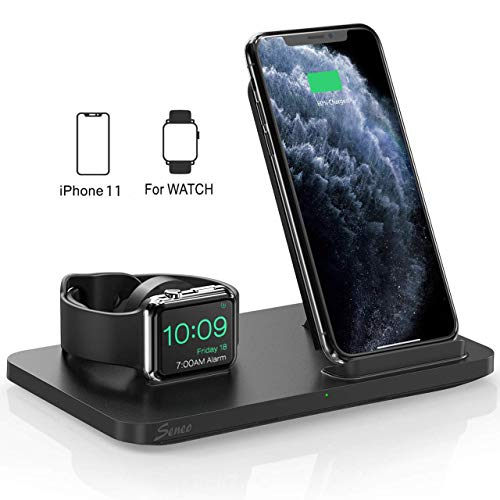 Seneo Dual 2 in 1 Kabellose Ladestation, iWatch Ladestation, Nachttisch für iWatch Series 5/4/3/2, 7.5W Ladestation für iPhone 11/Pro Max/XR/XS/X/8 (Kein Adapter und iWatch Ladekabel)