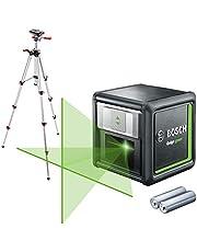 Bosch hårkorslaser Quigo Green med stativ (arbetsområde: upp till 12 m, självnivellerande: upp till ± 4°, grön laser, 2x AA-batterier, i kartong) - Amazon Edition