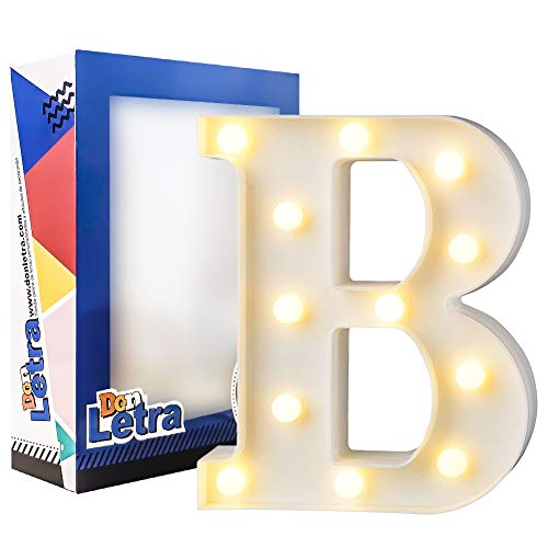DON LETRA Letras Luminosas Decorativas con Luces LED, Letras del Alfabeto A-Z, Altura de 22cm, Color Blanco - Letra B