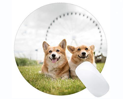 Yanteng Runde Mauspad Benutzerdefinierte, lustige Schwarze Labrador Dog Corgi Rutschfeste Gummi-Mauspad Gaming Mouse Pad