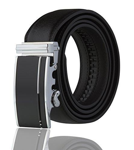 Imperial Men's Ratchet Leather Dress Belt (Silver Black line)