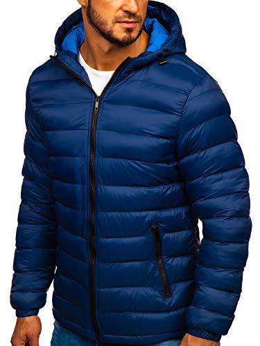BOLF Herren Winterjacke Steppjacke Stehkragen Kapuze Sport Casual Style Reißverschluss Warm Casual Style J.Boyz JP1101 Dunkelblau M [4D4]