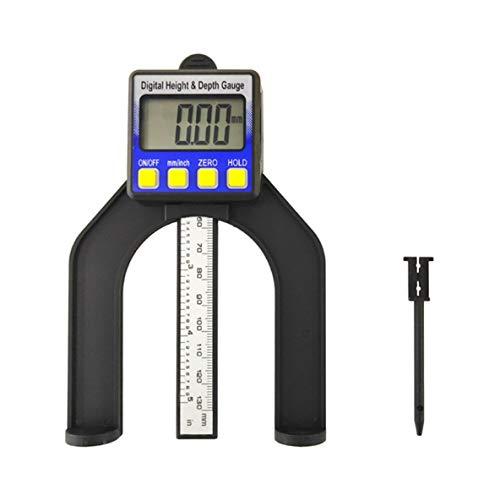 ACEHE Medidor de Profundidad, medidor de Altura Digital Medidor de Profundidad de Sierra de Mesa con Tres Unidades de Medida Tornillo de Bloqueo para Mesa de enrutador de carpintería de 80 mm