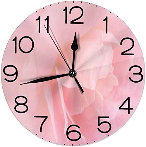 Nihaoma Dekorative runde Wanduhr für Haus, Abschluss, der herauf das rosafarbene Blumenblatt ro Bloom Wedding blüht, spornte Liebesparfümbild für Wohnzimmerschlafzimmer an