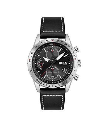 Hugo BOSS Herren Analog Quarz Uhr mit Leder Armband 1513853