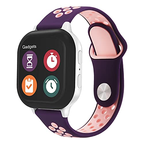 Gizmo Watch Band Replacement for Kids - Breathable Soft Silicone Band Compatible with Verizon Gizmo Watch 2 / Gizmo Watch 1, Purple Pink