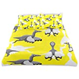 TARTINY Duvet Cover Set Cute Dinosaur Pelecanimimus Cartoon Background Seamless Decorative Piece Bedding Set with Pillow Shams