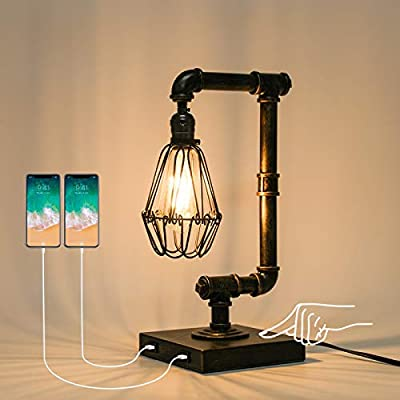 Ganiude Steampunk Lamp, 3-Way Dimmable Touch Control, Industrial Desk Lamp with USB Ports, Vintage Edison Bulb Lamp, Iron Retro Water Pipe Table Lamp for Dining Room, Bar, 100W Max(Bulb Included)