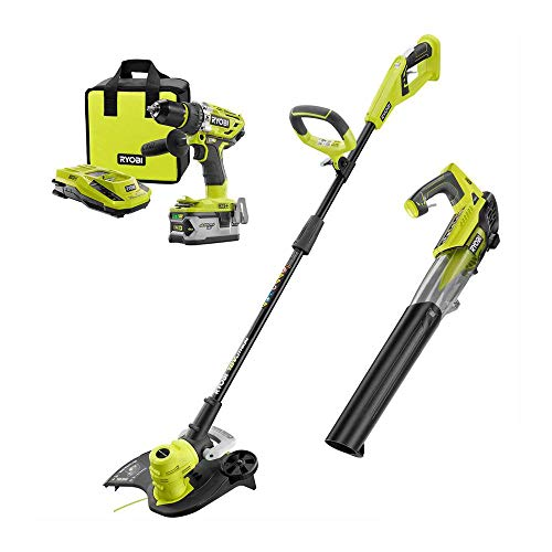 Great Features Of RYOBI P2008-2528 ONE+ 18-Volt Lithium-Ion Cordless Trimmer/Blower/Hammer Drill Com...