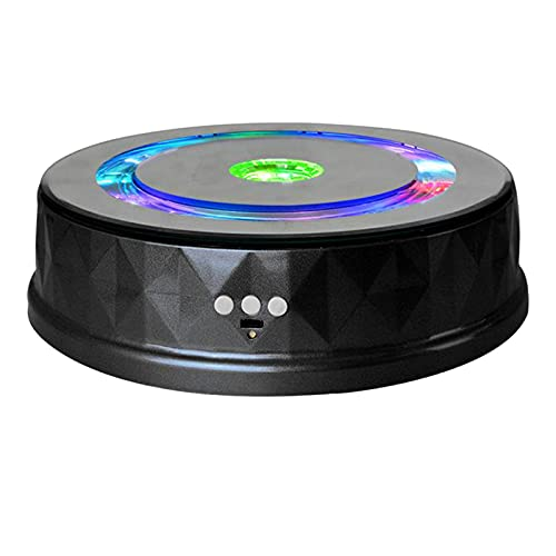 N\\C Elektrischer Ausstellungsständer aus Kunststoff Bunte Lichter Plattenspieler Uhr Digitale Produkte USB-Ladehalter - Schwarz
