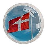 Tizorax - 4 pomos de cristal para cajones (30 mm), diseño de bandera danesa