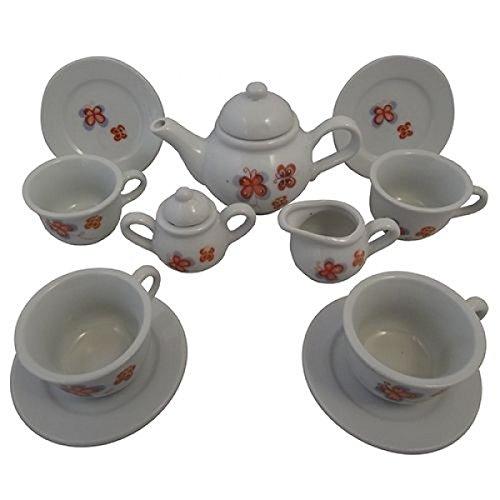 Puppen-Teeservice   Kinder-Kaffeeservice aus Porzellan   Schmetterlings-Design   mit Kanne, Tassen, Teller, Zuckerdose udn Milchkännchen  Holzspielzeug-Peitz