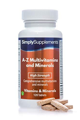 A - Z Multivitamine & Mineralstoffe - mit hoher Dosis Vitamin C - Geeignet für Vegetarier - 120 Tabletten - SimplySupplements