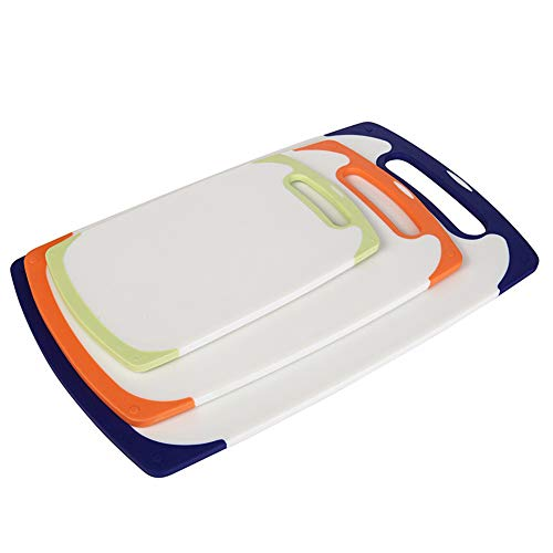 GNSDA Juego de 3 Tablas de Cortar de plástico para Cortar en la Cocina con Mango Conveniente sin bisfenol A, sin Agujeros
