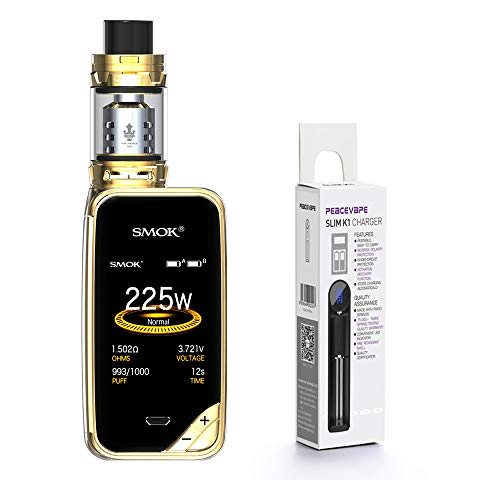 AUTÉNTICO SMOK X PRIV Kit 225W TFV12 PRINCE 2mL Tank Cigarrillo electrónico (Oro) SMOK XPRIV con PEACEVAPE ™ 18650 Cargador delgado de 1 ranura Sin Tabaco - Sin Nicotina