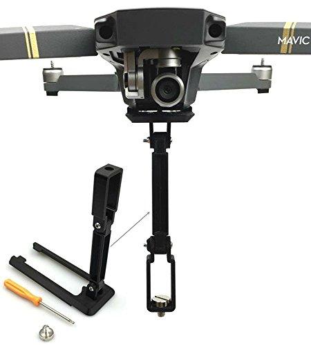 Flycoo Soporte plegable para cámara DJI Mavic Pro/Mavic Pro Platinum Drone Helicóptero - para GoPro Hero 5 4 3 Acción etc Cámara deportiva con agujero de tornillo 1/4 (montaje debajo)