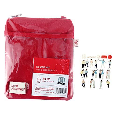 Haushele OFD Kpop Bangtan Boys Handytasche Geldbrse Rot Canvas Tasche Transparent gleiche Stil Mini Schultertasche gleiche Stil Aufkleber fr A.R.M.Y