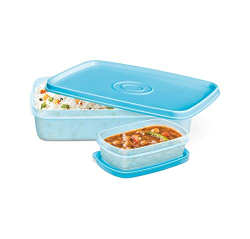 MILTON I Fresh Plastic Leak-Proof Microwave Safe 2 Container Lunchbox (1200ml, Multi Color)