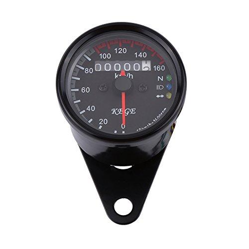 Moto Odomètre, Keenso Compteur de Vitesse Jauge de Vitesse d'Odomètre 12V de Moto LED Indicateur de Vitesse 0-160km/h Universel Indicateur Simple(Black)
