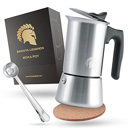 Barista Legends® Espressokocher Induktion geeignet - 200ml (4 Tassen) Kaffeekocher Edelstahl für den Herd oder fürs Camping - Kochen Sie leckeren Espresso mit unserer Mokkakanne inkl. Outdoor Set!