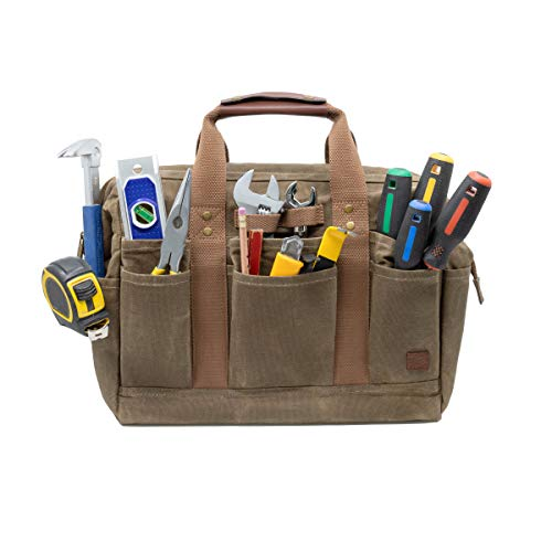 PD Canvas Tool Bag 14-Inch, Khaki, 18 Pockets, Heavy Duty Tradesman Bag | Made for Contractors, Painters, Carpenters, Builders (Classic Brown)