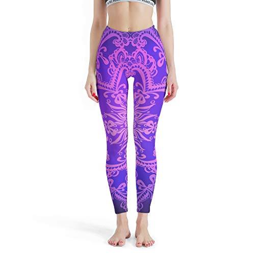 JEFFERS Vrouwen 4 Manier Stretch Tummy Controle Yoga Pant Heldere Paarse Mandela Gedrukt Yoga Leggings voor Meisje