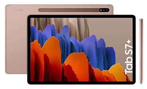 """Samsung Galaxy Tab S7+ - Tablet de 12.4"""" QHD (Wifi, Procesador Qualcomm Snapdragon 865 Plus, RAM de 6GB, Almacenamiento de 256 GB, Android 10, S Pen incluido) - Color Bronce [Versión española]"""