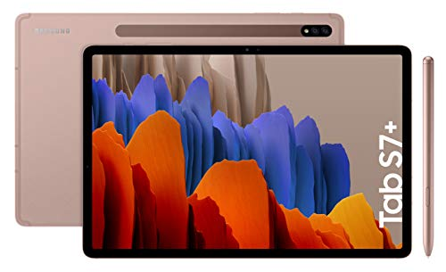 Samsung Galaxy Tab S7+ - Tablet de 12.4' QHD (Wifi, Procesador Qualcomm Snapdragon 865 Plus, RAM de 6GB, Almacenamiento de 128GB, Android 10, S Pen incluido) - Color Bronce [Versión española]