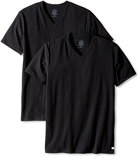 Calvin Klein Men s Cotton Stretch Multipack V Neck T-Shirts, Black, Large