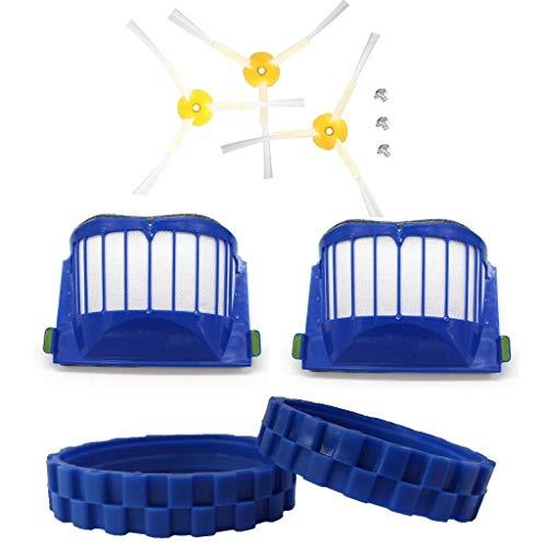EPIEZA Pack 2 neumáticos + 2 filtros + 3 cepillos Laterales para iRobot Roomba Serie 600, Accesorios