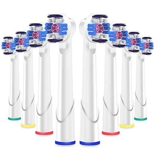 ITECHNIK White 3D Aufsätz für Oral B Zahnbürste Elektrische, kompatibel mit Braun Oral b Vitality, Pro Health, TriZone, Advance Power, Professional Care, Aufsteckbürsten 8er