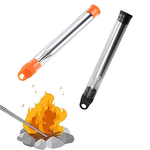 Tubo de Fuego de Soplado, Tubo Soplador Telescópico Soplador, Herramienta de Supervivencia, para Aire Libre Camping Grill Tool, 2PCS