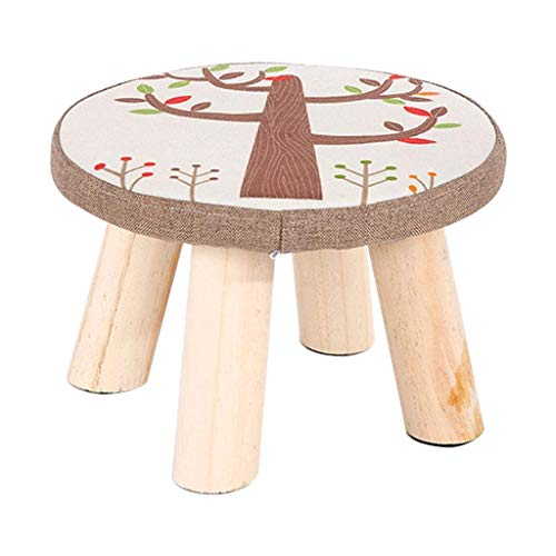 JIAXU Reposapiés otomanos taburete de pedal, taburete redondo otomano tapizado casero puffes simple moda pequeña silla taburete 4 patas de madera extraíble cubierta de lino