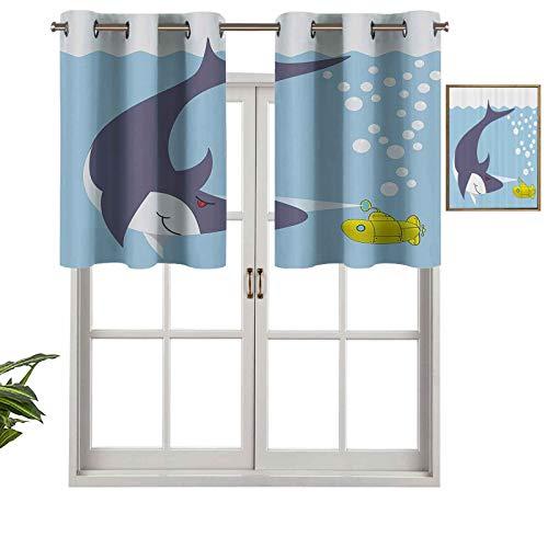 Hiiiman Cenefa corta recta, diseño de tiburón con buque en burbujas oceánicas debajo del mar, diseño de animales, juego de 1, 91,4 x 45,7 cm para Windows cocina
