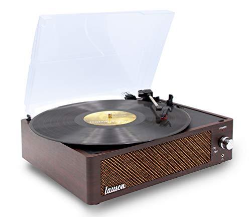 Plattenspieler mit Lautsprecher | Vinyl Record Player | Schallplattenspieler Retro | 3 Geschwindigkeiten 33, 45, 78 | Holz