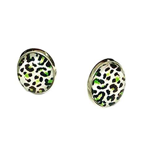 Elf House Leopard. Cuello de pendientes, cabujón estampado de leopardo, blanco y negro con toque de verde.