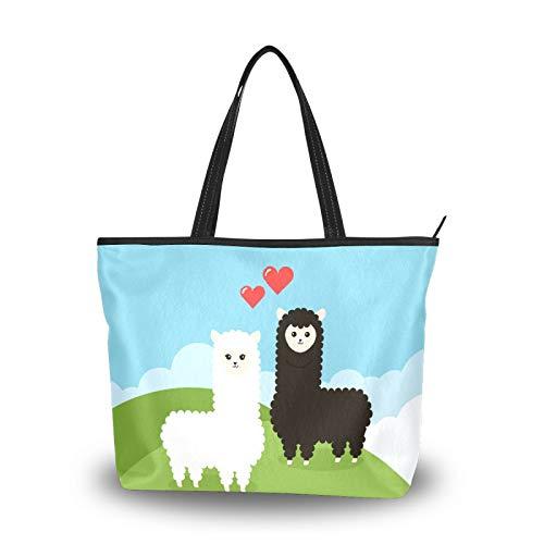 Bolsa de la compra con cremallera, color blanco y negro, alpaca, camello, grande, reutilizable, con asa superior, para la escuela, trabajo, gimnasio, playa, viajes al aire libre