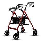 Andador de peso ligero plegable Walker andador de altura ajustable con acolchado de asiento 4 Sillas de ruedas de transporte, Corta Movilidad Socorro Rojo caminadores para mayores RVTYR