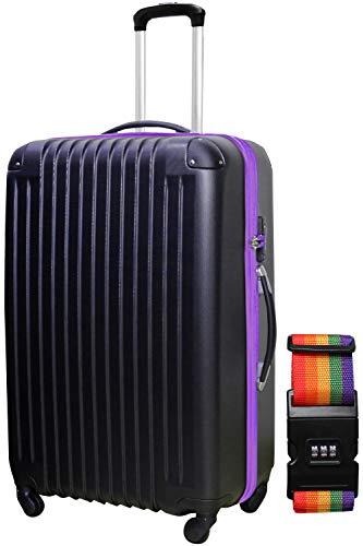 DABADA(ダバダ) スーツケース ベルト付 キャリーケース 機内持込 S M L ファスナー TSAロック (M, ブラック/パープル)